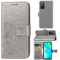 Embossing Imprint Four-Leaf Clover Leather Wallet Case for Huawei Honor 30s - Grey