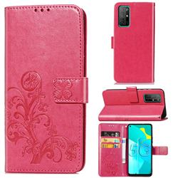 Embossing Imprint Four-Leaf Clover Leather Wallet Case for Huawei Honor 30s - Rose Red