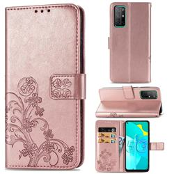 Embossing Imprint Four-Leaf Clover Leather Wallet Case for Huawei Honor 30s - Rose Gold