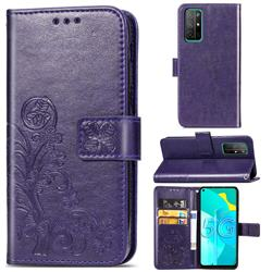 Embossing Imprint Four-Leaf Clover Leather Wallet Case for Huawei Honor 30s - Purple