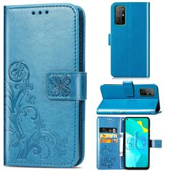 Embossing Imprint Four-Leaf Clover Leather Wallet Case for Huawei Honor 30s - Blue