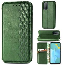 Ultra Slim Fashion Business Card Magnetic Automatic Suction Leather Flip Cover for Huawei Honor 30s - Green