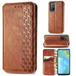 Ultra Slim Fashion Business Card Magnetic Automatic Suction Leather Flip Cover for Huawei Honor 30s - Brown