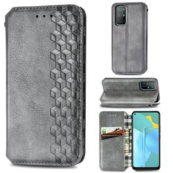 Ultra Slim Fashion Business Card Magnetic Automatic Suction Leather Flip Cover for Huawei Honor 30s - Grey