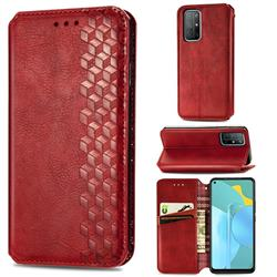Ultra Slim Fashion Business Card Magnetic Automatic Suction Leather Flip Cover for Huawei Honor 30s - Red