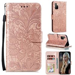 Intricate Embossing Lace Jasmine Flower Leather Wallet Case for Huawei Honor 30s - Rose Gold