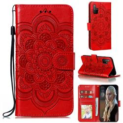 Intricate Embossing Datura Solar Leather Wallet Case for Huawei Honor 30s - Red