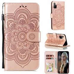 Intricate Embossing Datura Solar Leather Wallet Case for Huawei Honor 30s - Rose Gold