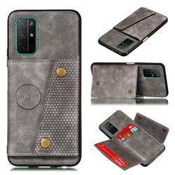 Retro Multifunction Card Slots Stand Leather Coated Phone Back Cover for Huawei Honor 30s - Gray