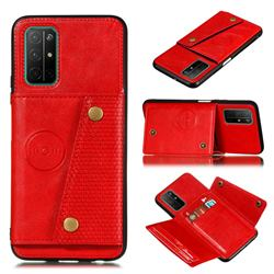 Retro Multifunction Card Slots Stand Leather Coated Phone Back Cover for Huawei Honor 30s - Red