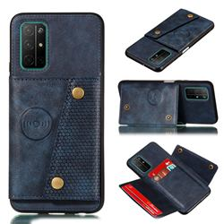 Retro Multifunction Card Slots Stand Leather Coated Phone Back Cover for Huawei Honor 30s - Blue