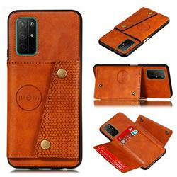 Retro Multifunction Card Slots Stand Leather Coated Phone Back Cover for Huawei Honor 30s - Brown
