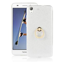 Luxury Soft TPU Glitter Back Ring Cover with 360 Rotate Finger Holder Buckle for Huawei Honor 5A - White