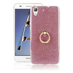 Luxury Soft TPU Glitter Back Ring Cover with 360 Rotate Finger Holder Buckle for Huawei Honor 5A - Pink