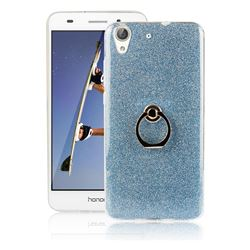 Luxury Soft TPU Glitter Back Ring Cover with 360 Rotate Finger Holder Buckle for Huawei Honor 5A - Blue