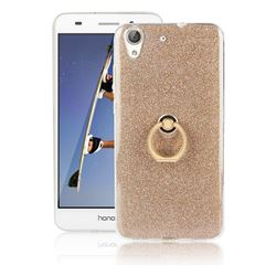 Luxury Soft TPU Glitter Back Ring Cover with 360 Rotate Finger Holder Buckle for Huawei Honor 5A - Golden