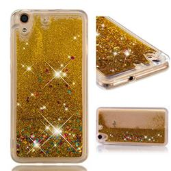 Dynamic Liquid Glitter Quicksand Sequins TPU Phone Case for Huawei Honor 5A - Golden
