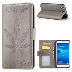 Intricate Embossing Maple Leather Wallet Case for Huawei Honor 5A - Gray