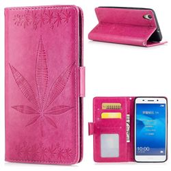 Intricate Embossing Maple Leather Wallet Case for Huawei Honor 5A - Rose