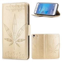 Intricate Embossing Maple Leather Wallet Case for Huawei Honor 5A - Champagne