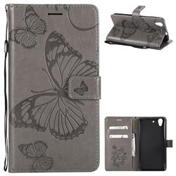 Embossing 3D Butterfly Leather Wallet Case for Huawei Honor 5A - Gray