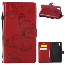 Embossing 3D Butterfly Leather Wallet Case for Huawei Honor 5A - Red