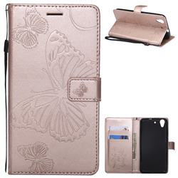 Embossing 3D Butterfly Leather Wallet Case for Huawei Honor 5A - Rose Gold
