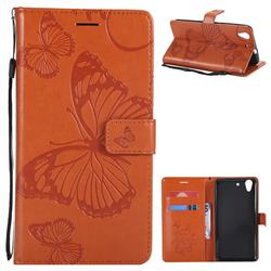 Embossing 3D Butterfly Leather Wallet Case for Huawei Honor 5A - Orange