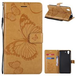 Embossing 3D Butterfly Leather Wallet Case for Huawei Honor 5A - Yellow
