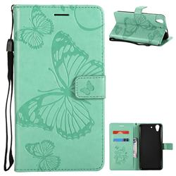 Embossing 3D Butterfly Leather Wallet Case for Huawei Honor 5A - Green