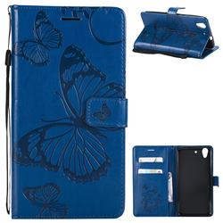 Embossing 3D Butterfly Leather Wallet Case for Huawei Honor 5A - Blue