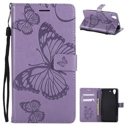 Embossing 3D Butterfly Leather Wallet Case for Huawei Honor 5A - Purple