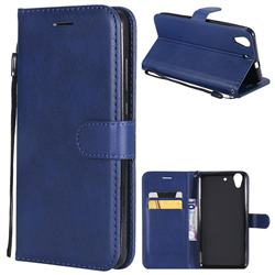 Retro Greek Classic Smooth PU Leather Wallet Phone Case for Huawei Honor 5A - Blue