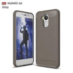 Luxury Carbon Fiber Brushed Wire Drawing Silicone TPU Back Cover for Huawei Honor 6A (Gray)