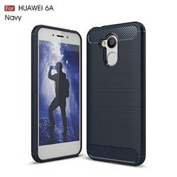Luxury Carbon Fiber Brushed Wire Drawing Silicone TPU Back Cover for Huawei Honor 6A (Navy)