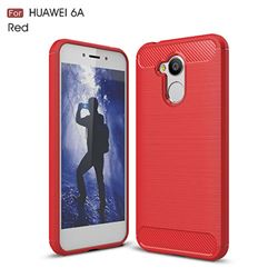 Luxury Carbon Fiber Brushed Wire Drawing Silicone TPU Back Cover for Huawei Honor 6A (Red)