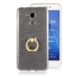 Luxury Soft TPU Glitter Back Ring Cover with 360 Rotate Finger Holder Buckle for Huawei Honor 6A - Black