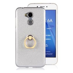 Luxury Soft TPU Glitter Back Ring Cover with 360 Rotate Finger Holder Buckle for Huawei Honor 6A - White