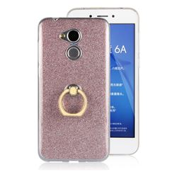 Luxury Soft TPU Glitter Back Ring Cover with 360 Rotate Finger Holder Buckle for Huawei Honor 6A - Pink