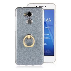 Luxury Soft TPU Glitter Back Ring Cover with 360 Rotate Finger Holder Buckle for Huawei Honor 6A - Blue
