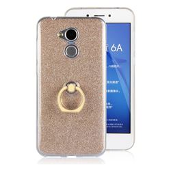 Luxury Soft TPU Glitter Back Ring Cover with 360 Rotate Finger Holder Buckle for Huawei Honor 6A - Golden