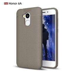 Luxury Auto Focus Litchi Texture Silicone TPU Back Cover for Huawei Honor 6A - Gray
