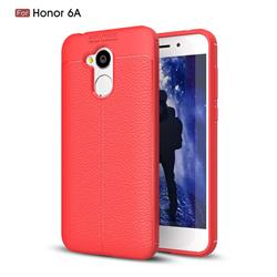 Luxury Auto Focus Litchi Texture Silicone TPU Back Cover for Huawei Honor 6A - Red