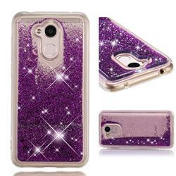 Dynamic Liquid Glitter Quicksand Sequins TPU Phone Case for Huawei Honor 6A - Purple