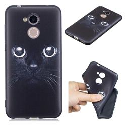 Bearded Feline 3D Embossed Relief Black TPU Cell Phone Back Cover for Huawei Honor 6A