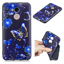 Phnom Penh Butterfly 3D Embossed Relief Black TPU Cell Phone Back Cover for Huawei Honor 6A