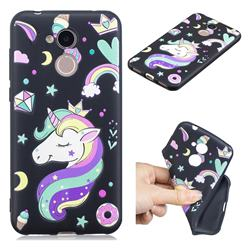 Candy Unicorn 3D Embossed Relief Black TPU Cell Phone Back Cover for Huawei Honor 6A