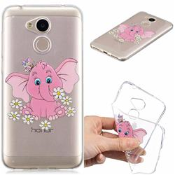 Tiny Pink Elephant Clear Varnish Soft Phone Back Cover for Huawei Honor 6A