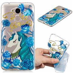 Blue Flower Unicorn Clear Varnish Soft Phone Back Cover for Huawei Honor 6A