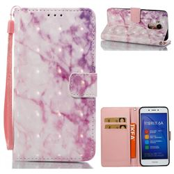 Pink Marble 3D Painted Leather Wallet Case for Huawei Honor 6A